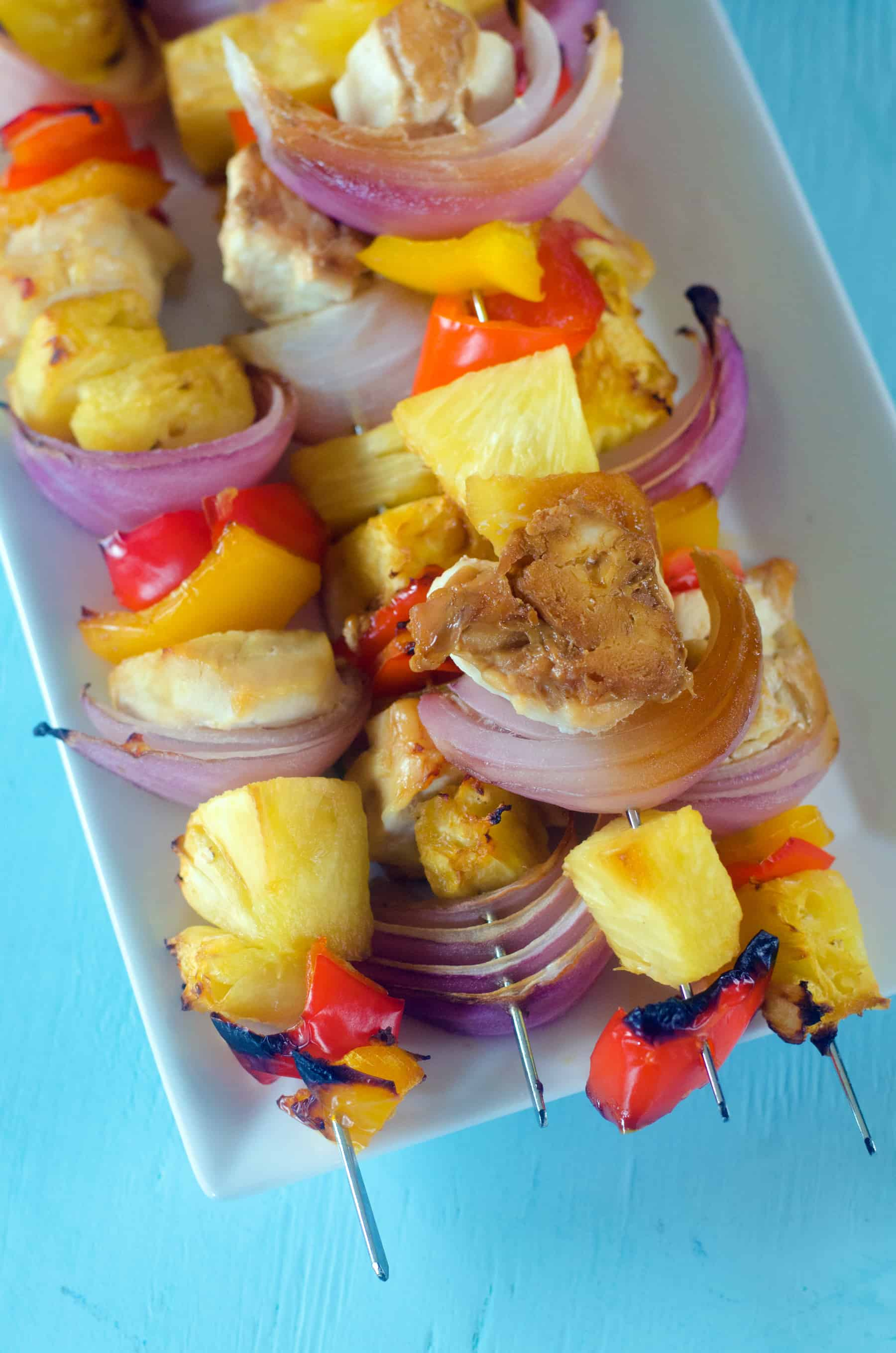 hawaiian kabobs on plate