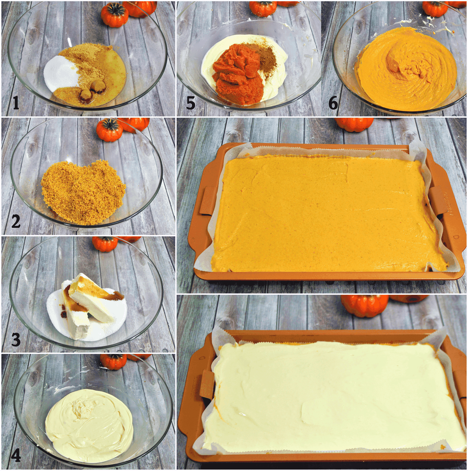 process image of layered pumpkin pie bars