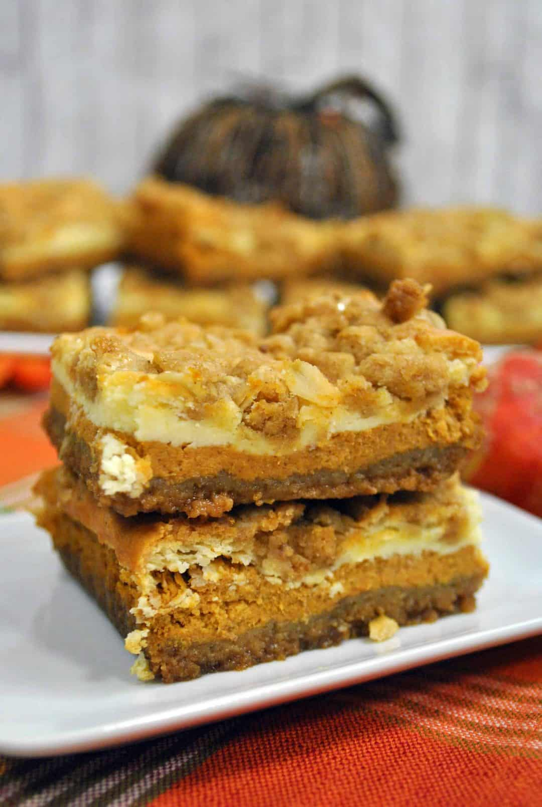 two pumpkin bars standing on top of each other