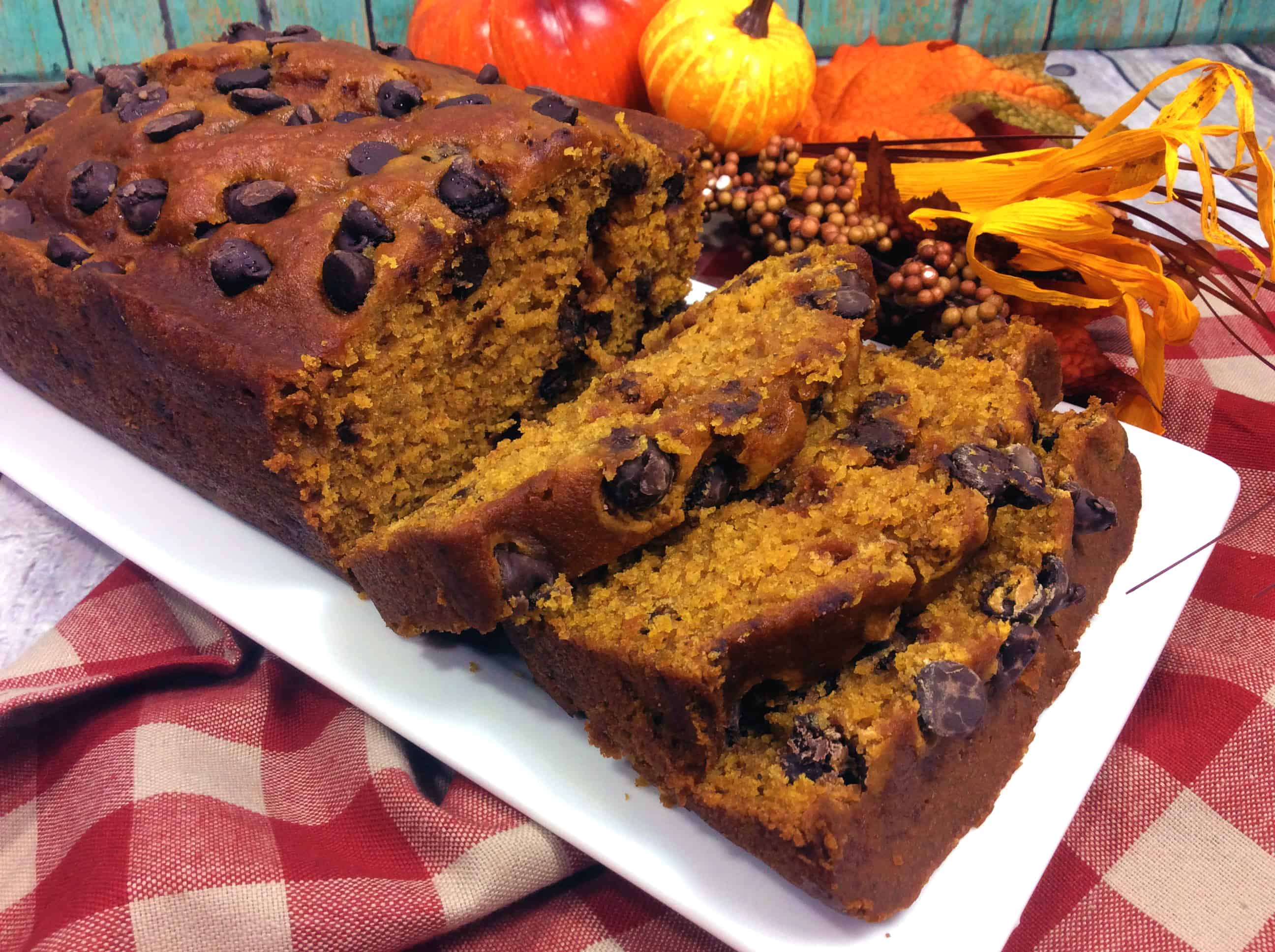 moist pumpkin bread on a plate