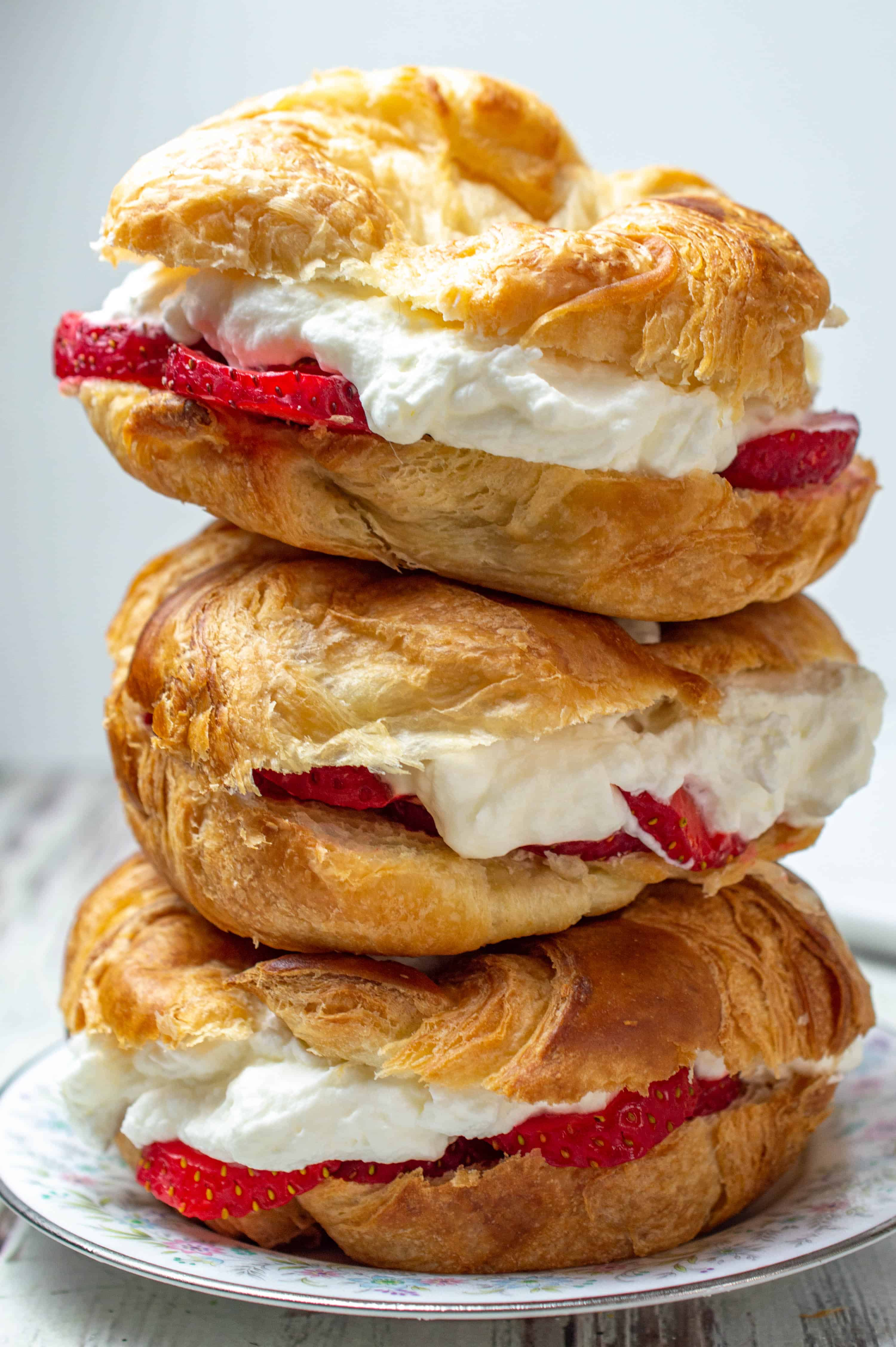 Strawberry and Almond Flavored Whipped Cream Filled Croissants