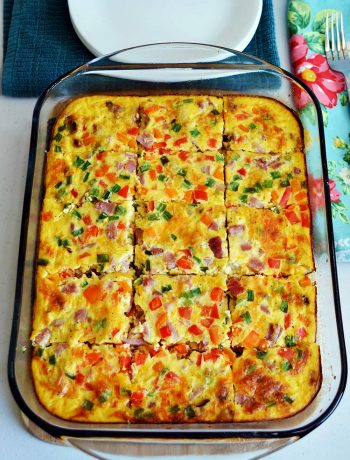 Overhead picture of prepared Healthy Breakfast Casserole