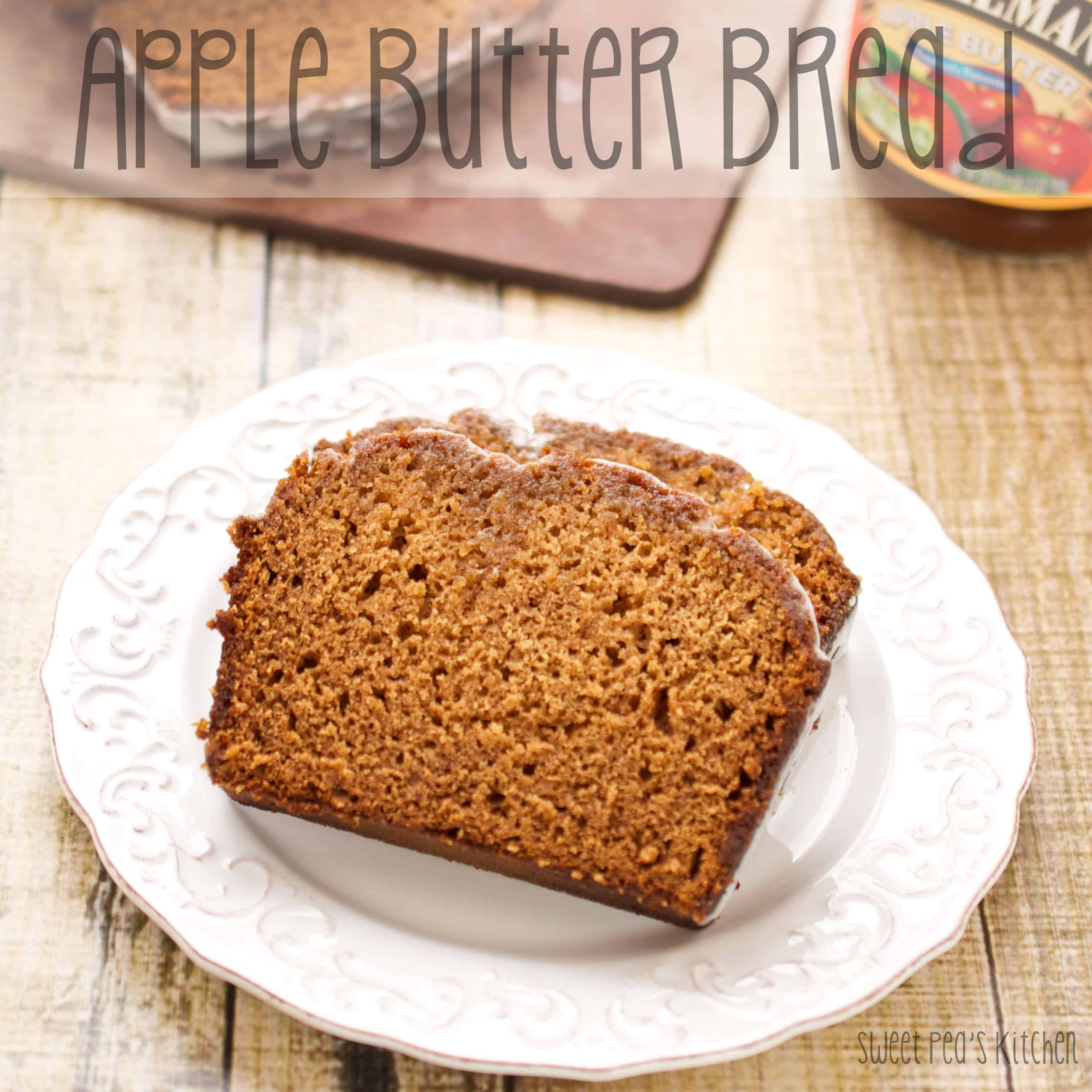 apple cinnamon bread on a white plate