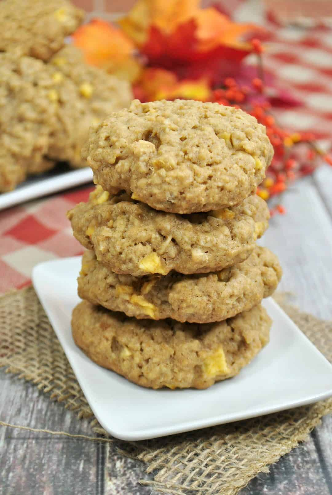 Apple Oatmeal cookies stacked on a plate ready to be eaten