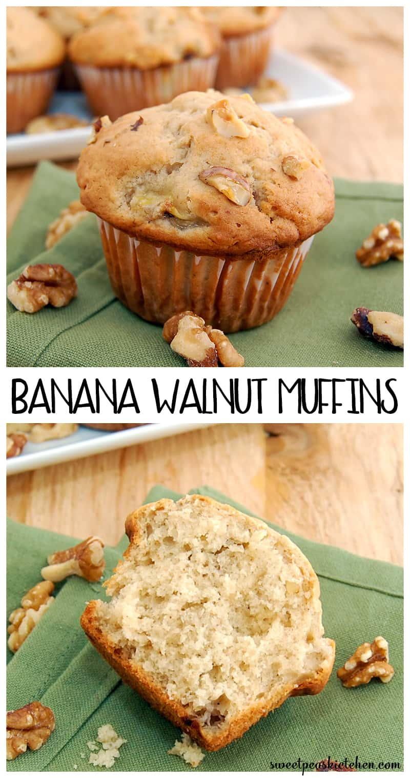 Moist Homemade Banana Walnut Muffins Recipe - PIN IMAGE