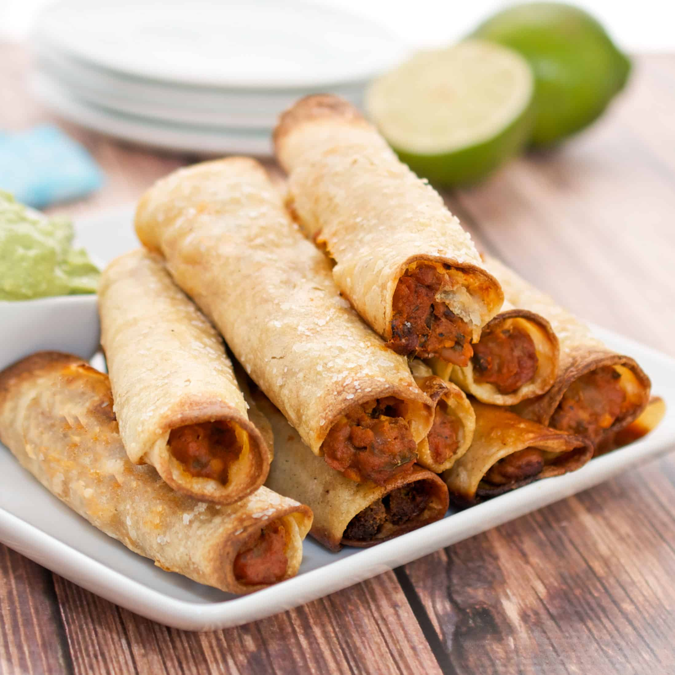 plate of Beef Taquitos