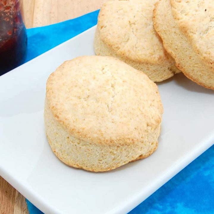 plate with cornbread biscuits