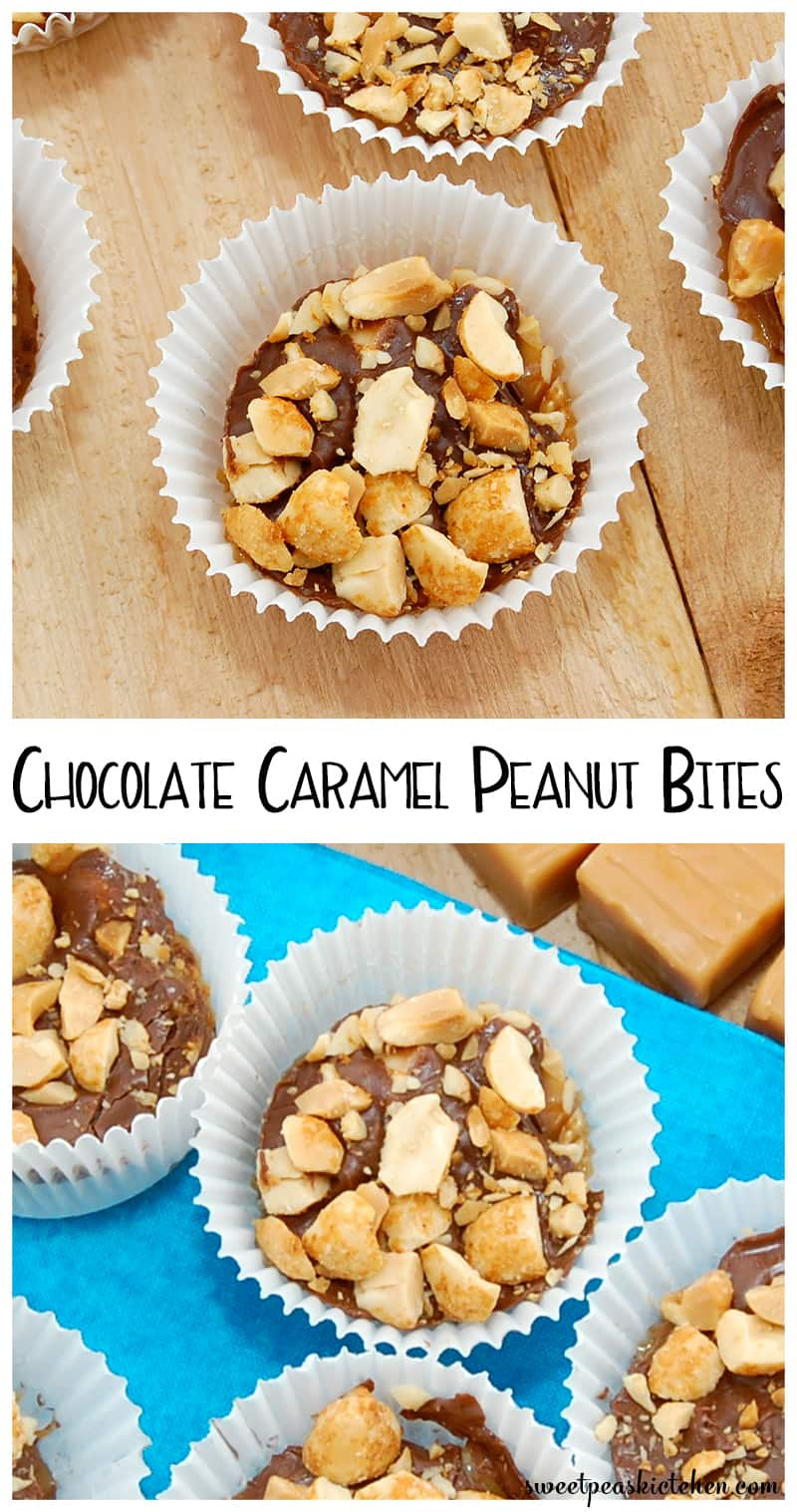 Chocolate Snack Bites With Caramel And Peanuts - PIN Image
