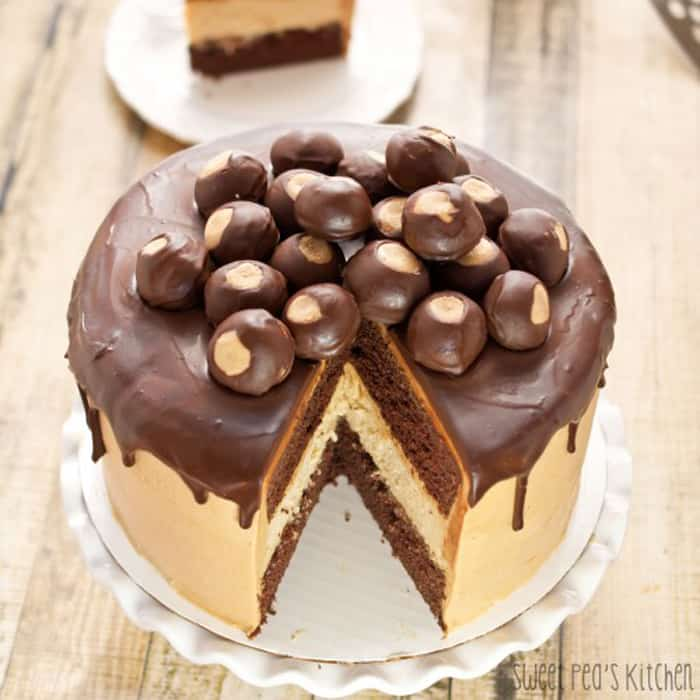 A peanut butter cheesecake chocolate layer cake on a white cake stand with one slice taken out