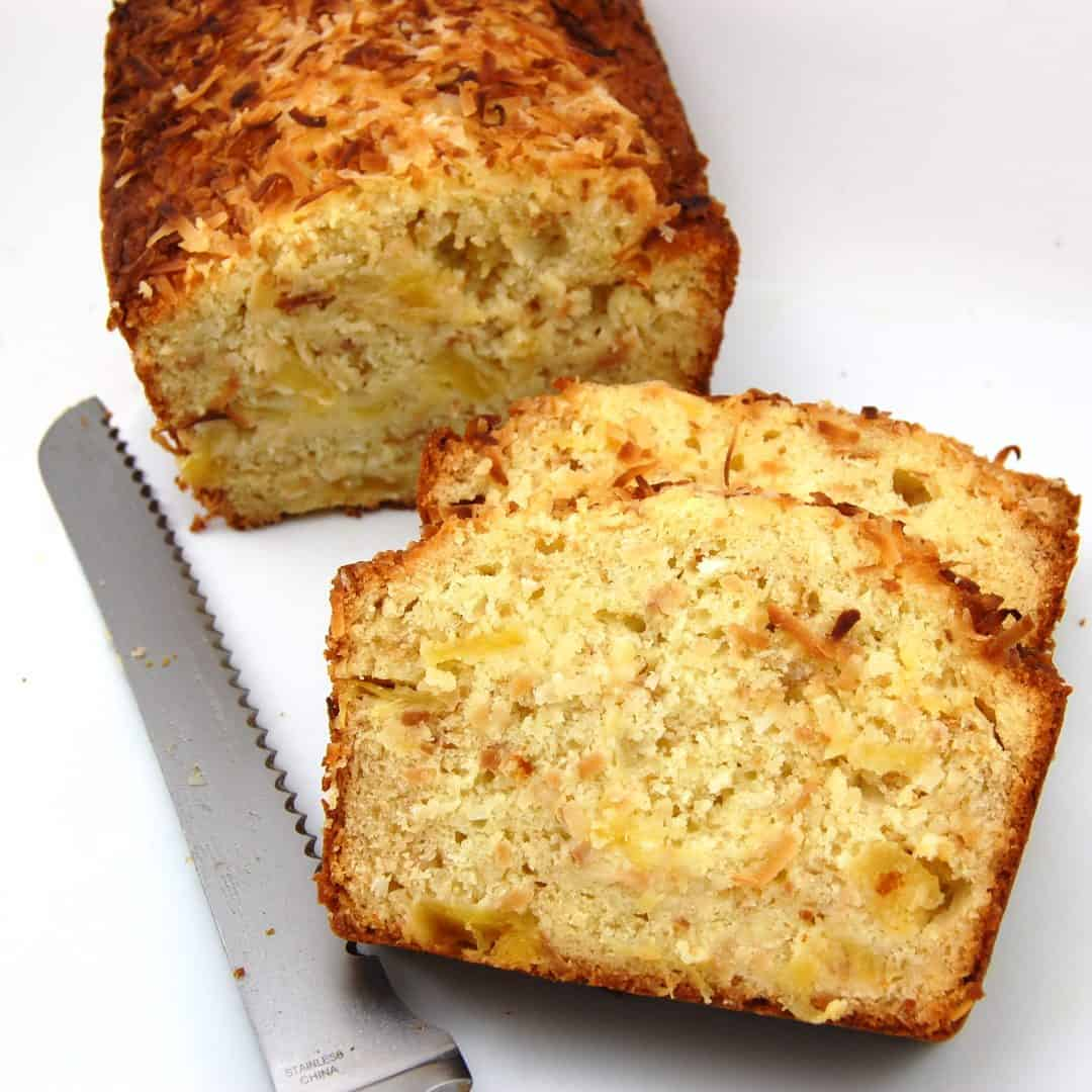pineapple coconut bread sliced and ready to eat