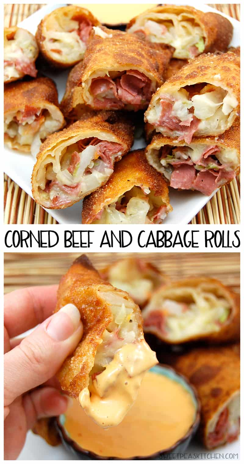 collage of corned beef and cabbage eggrolls