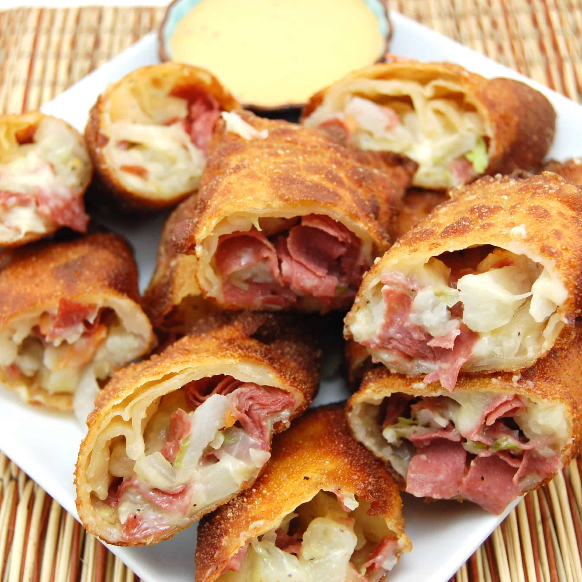 corned beef and cabbage eggrolls on a plate