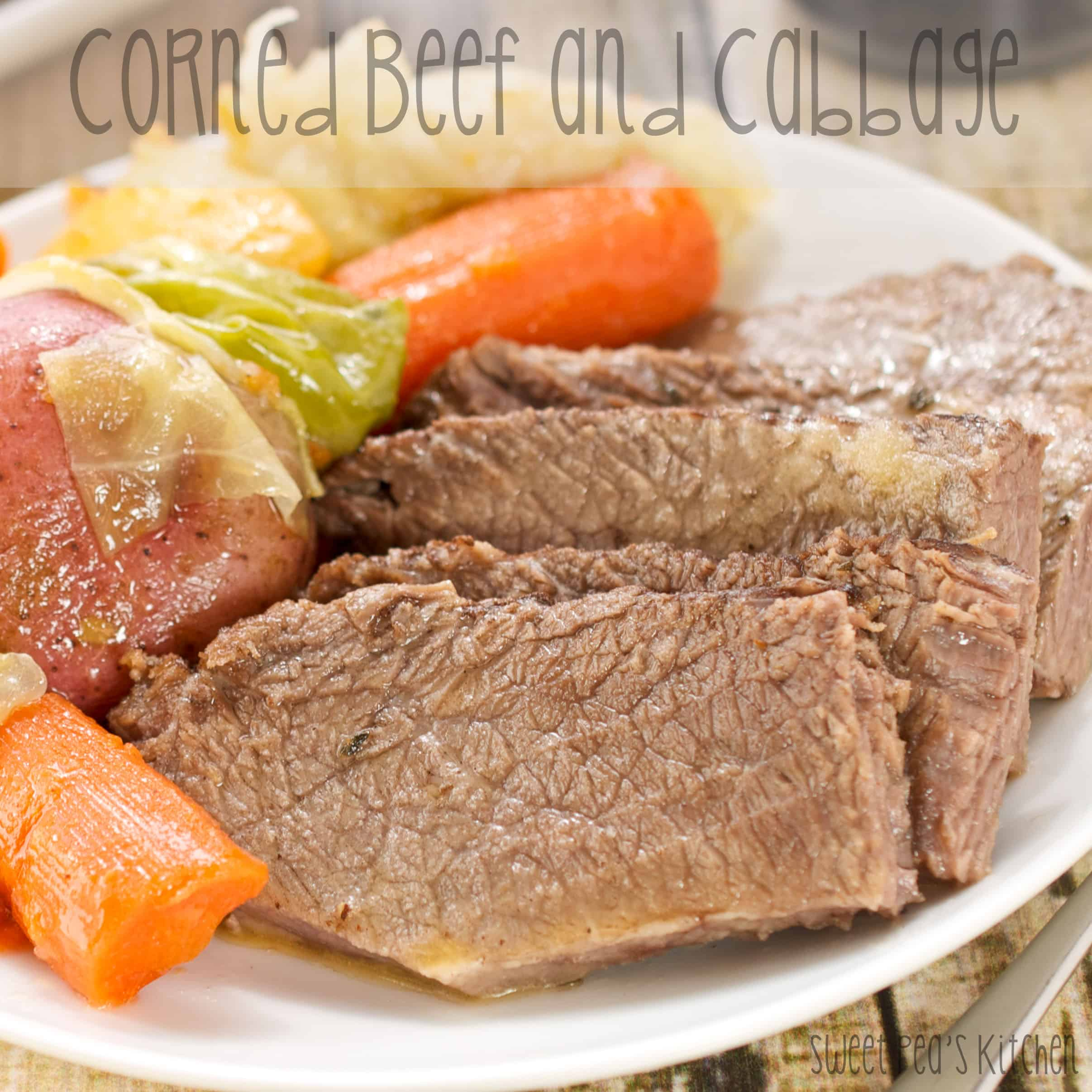 easy corned beef and cabbage on a white plate.