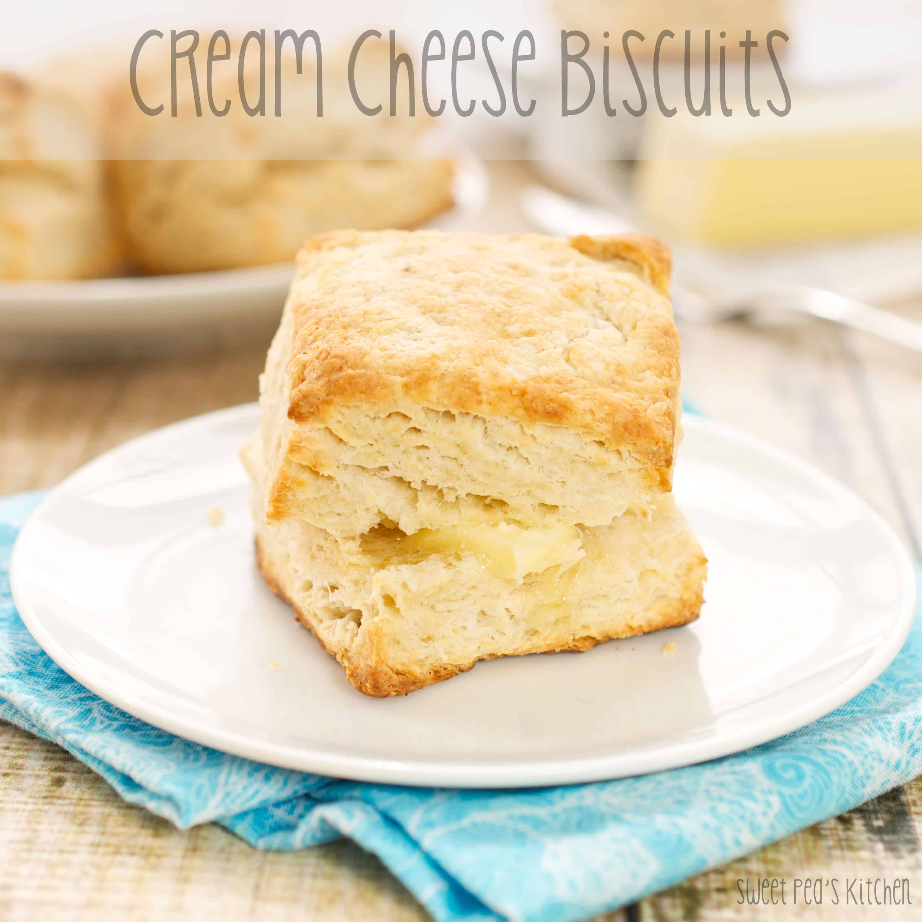 cream cheese biscuit on a white plate