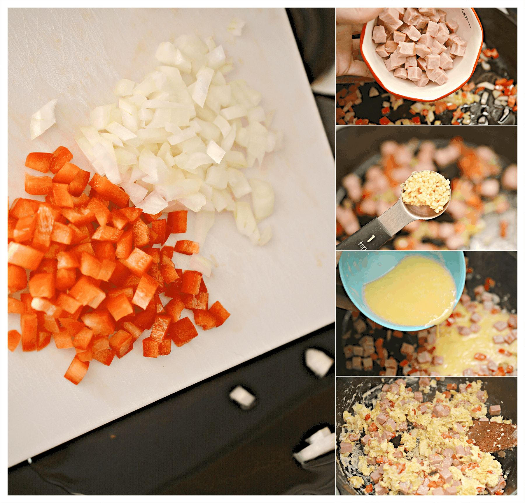 step by step for making Western Omelet Egg Scramble with Cheese Sauce