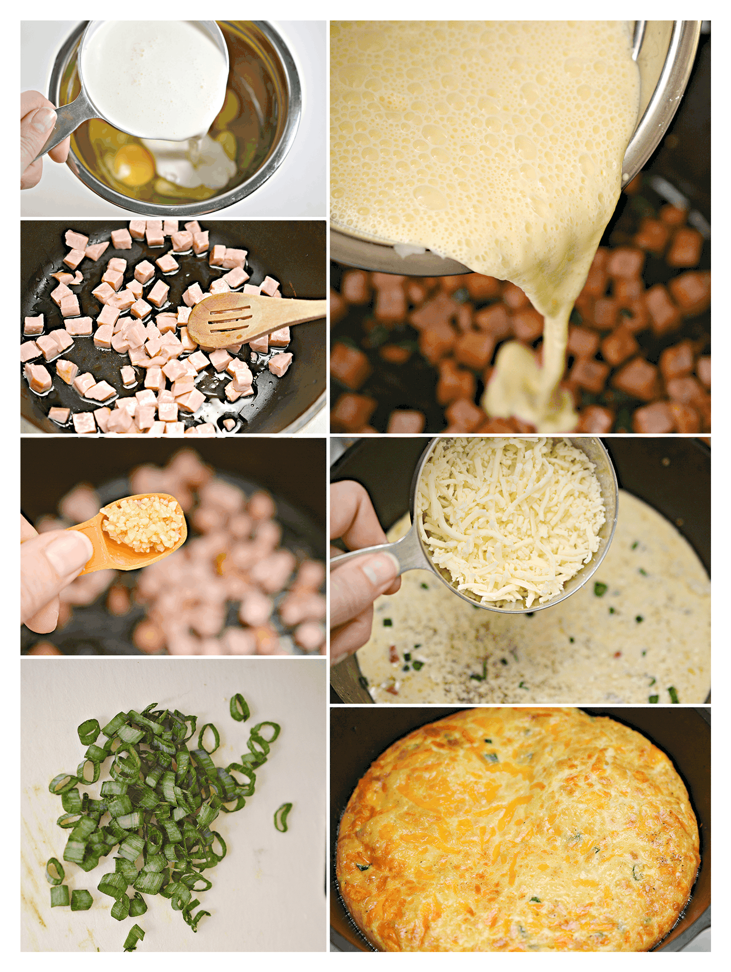 step by step for ham and cheese quiche
