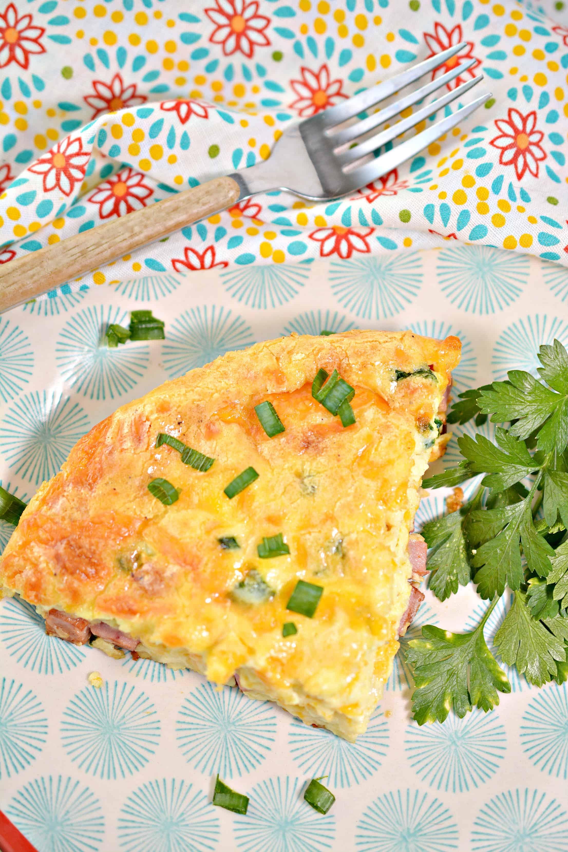 Crustless Ham and Cheese Quiche Recipe