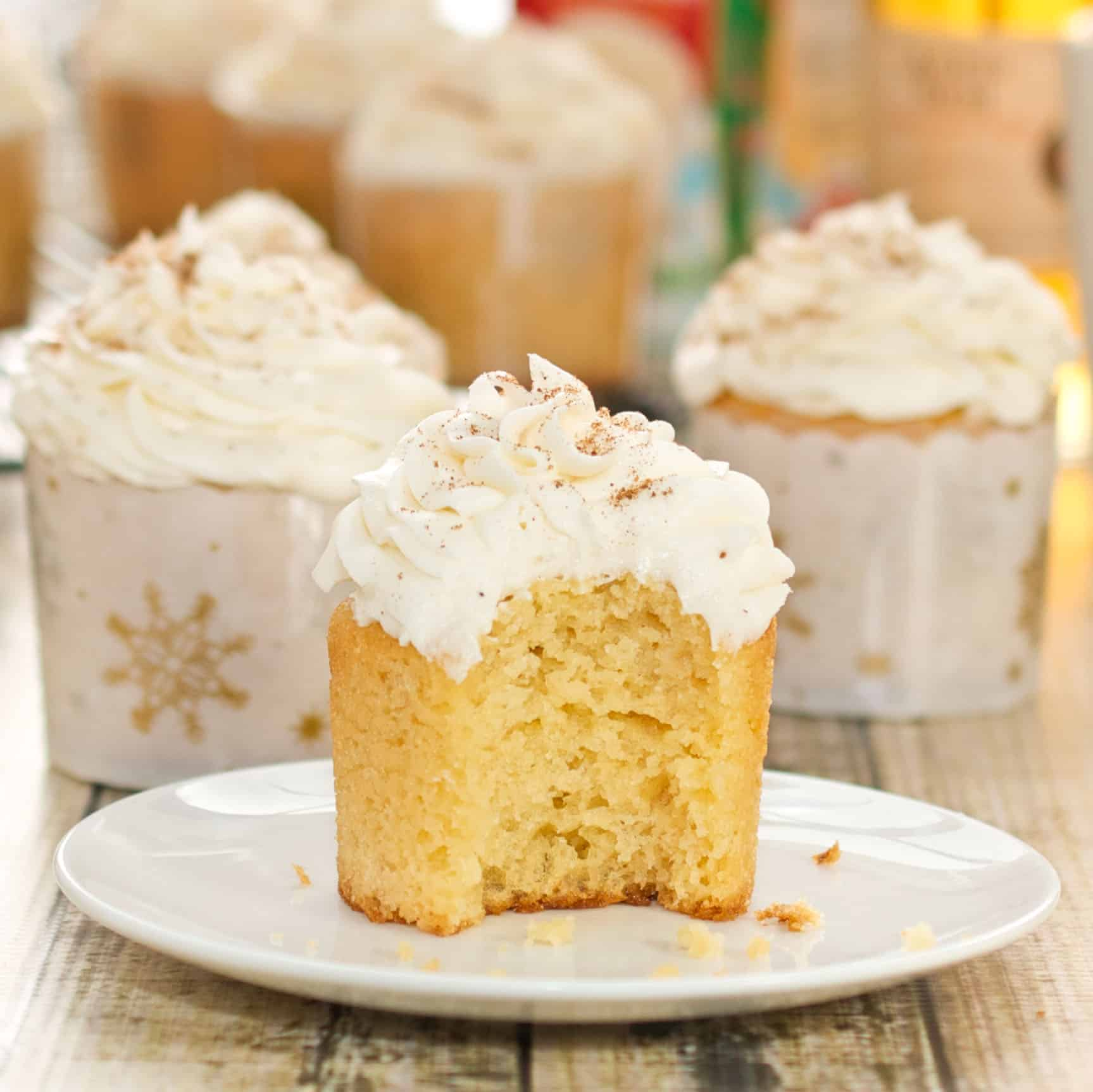 Eggnog Cupcakes with Rum-Infused Frosting