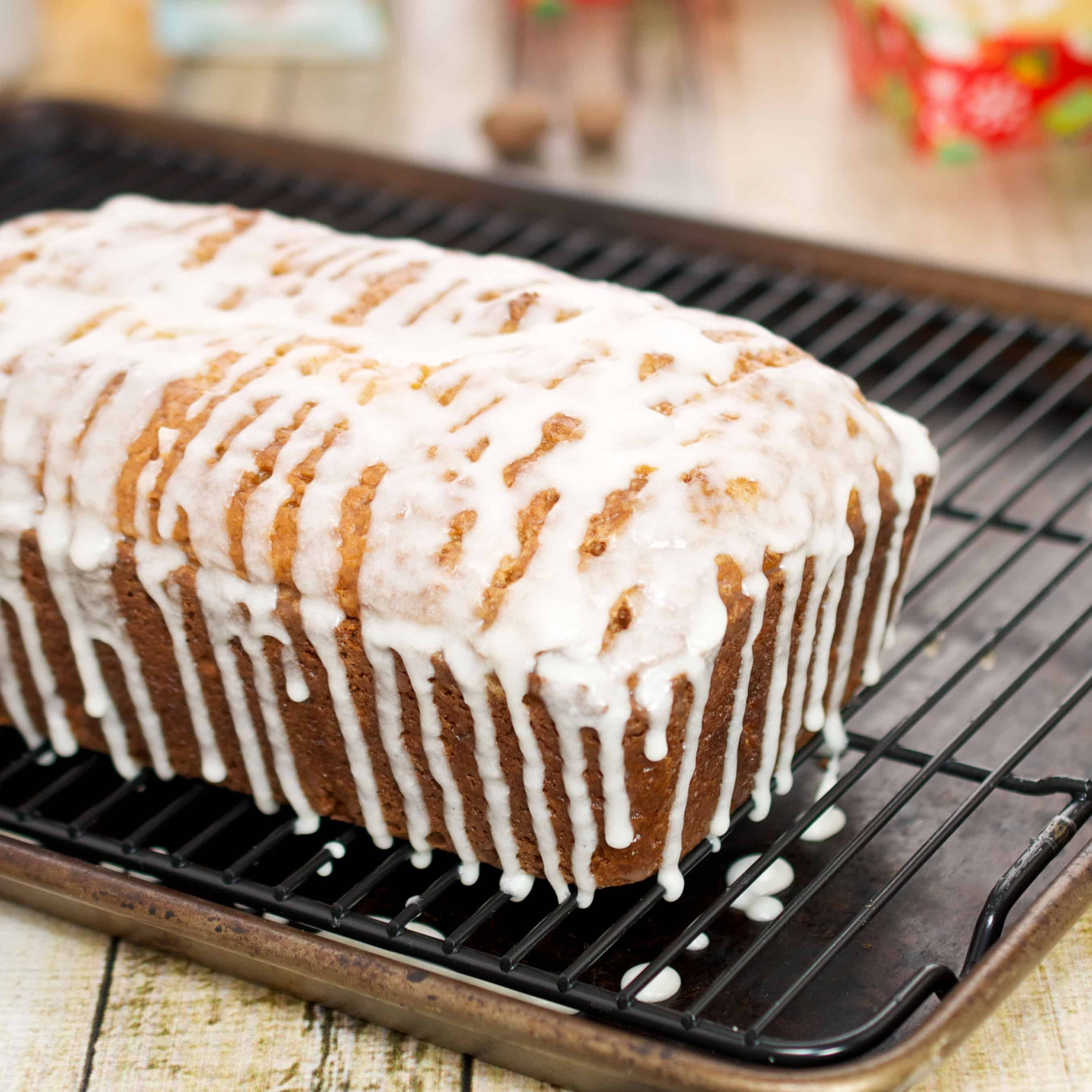 Egg nog loaf with rum glaze on a top