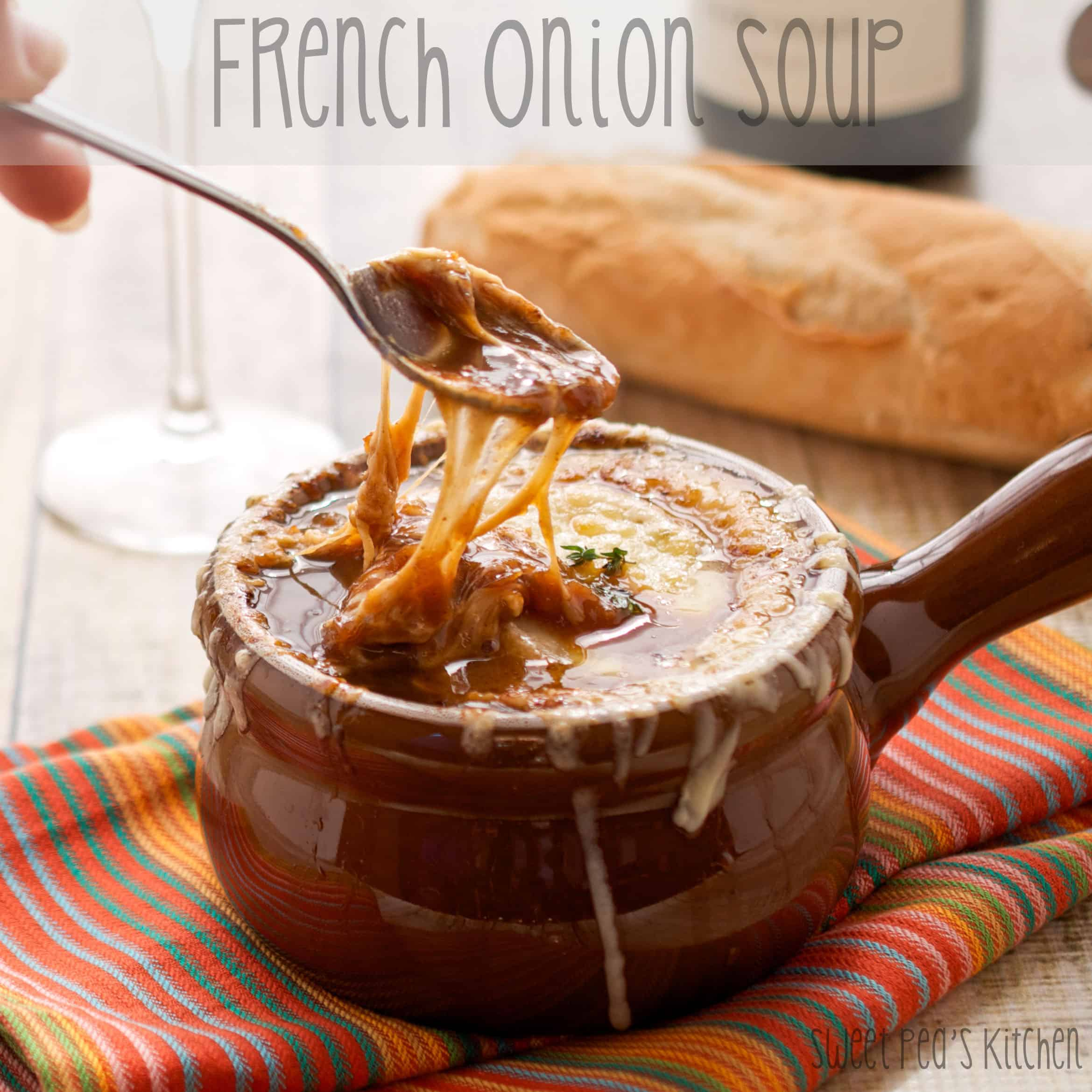 gooey carmelized onion soup