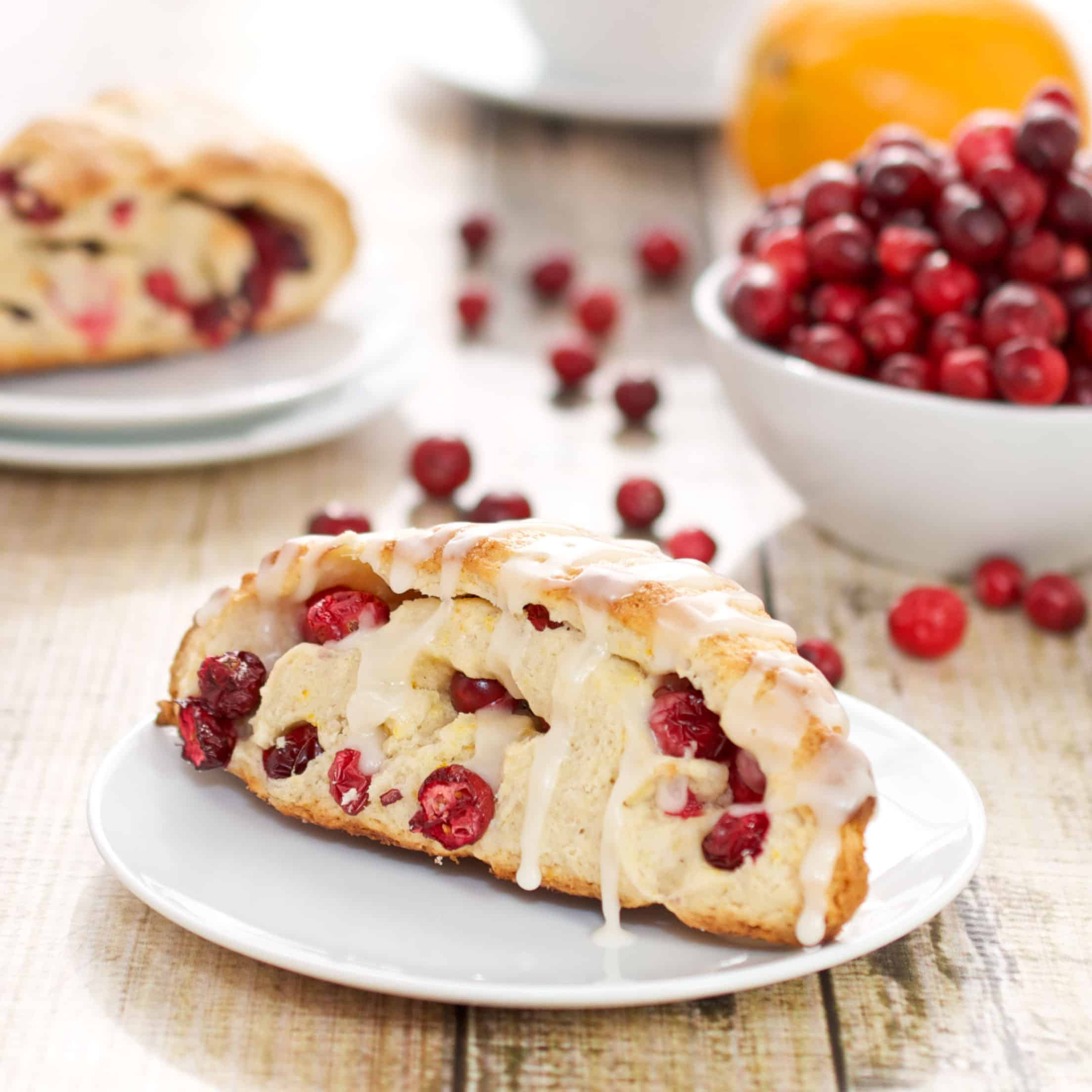 plate with fresh cranberry scone