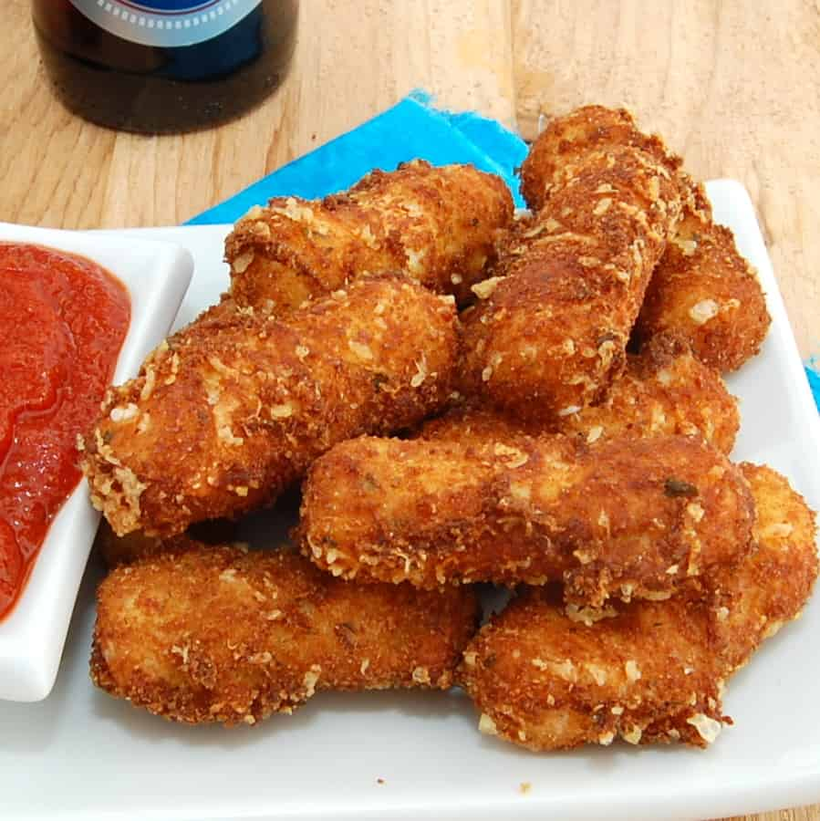 stack of fried mozzarella sticks