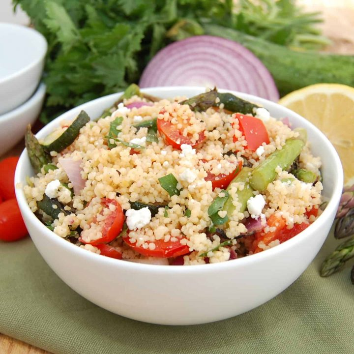 Grilled Vegetable Couscous with Lemon and Goat Cheese