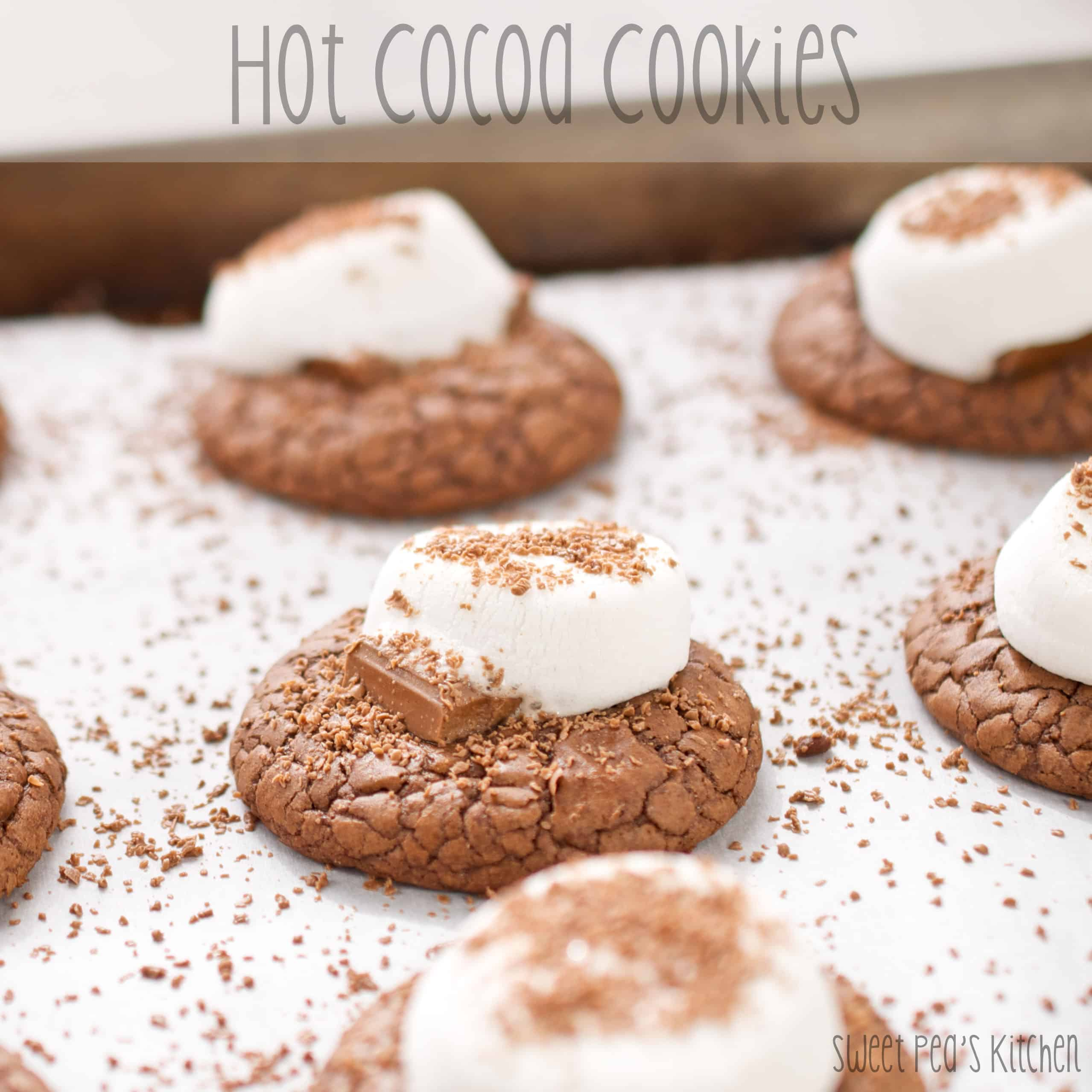 hot cocoa cookies on pan