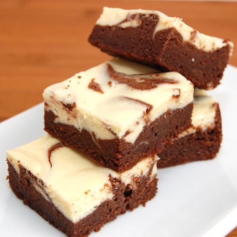 stack of irish cream brownies