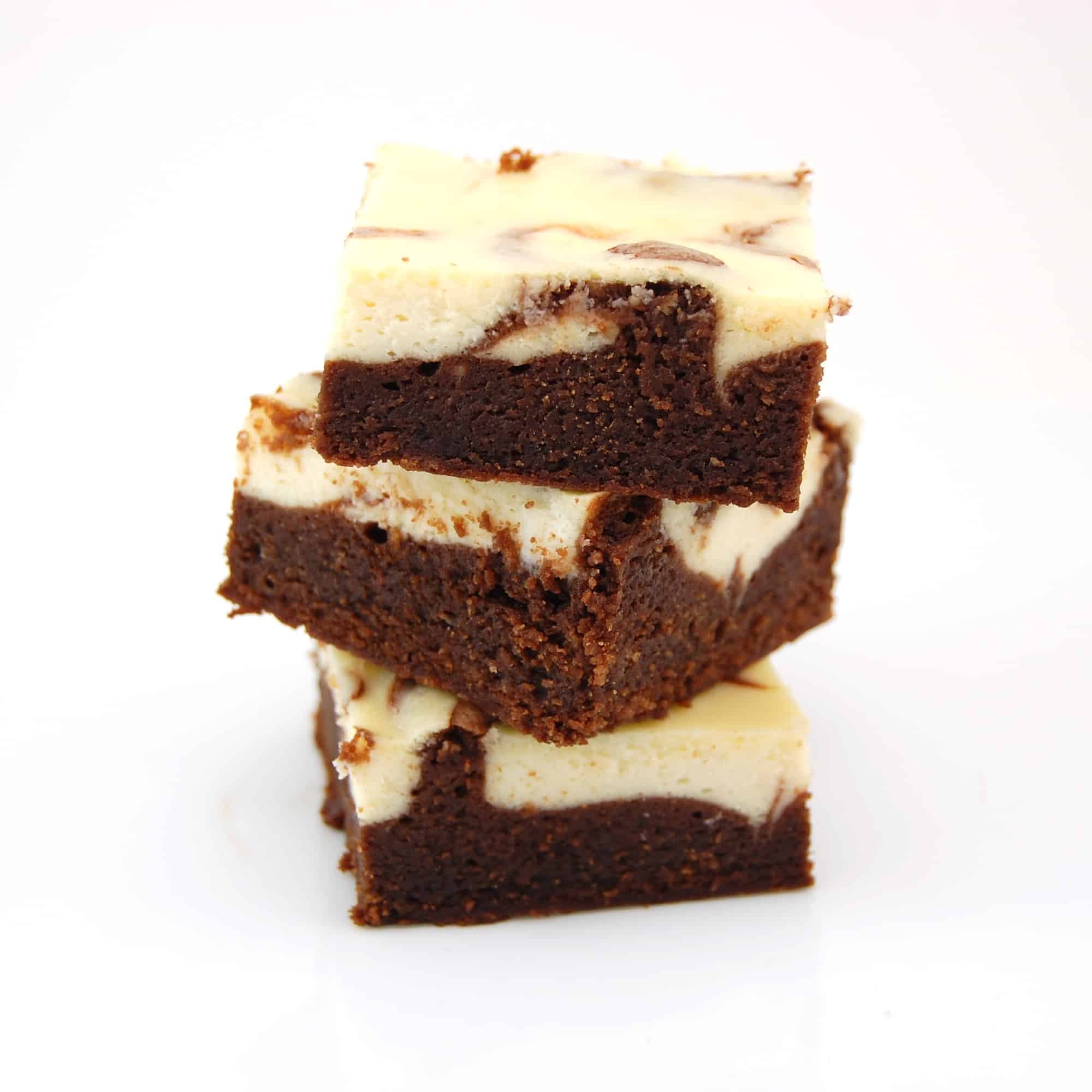 three Bailey's brownies in a stack