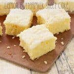 Overhead picture of lemon cake recipe slices on a wooden surface