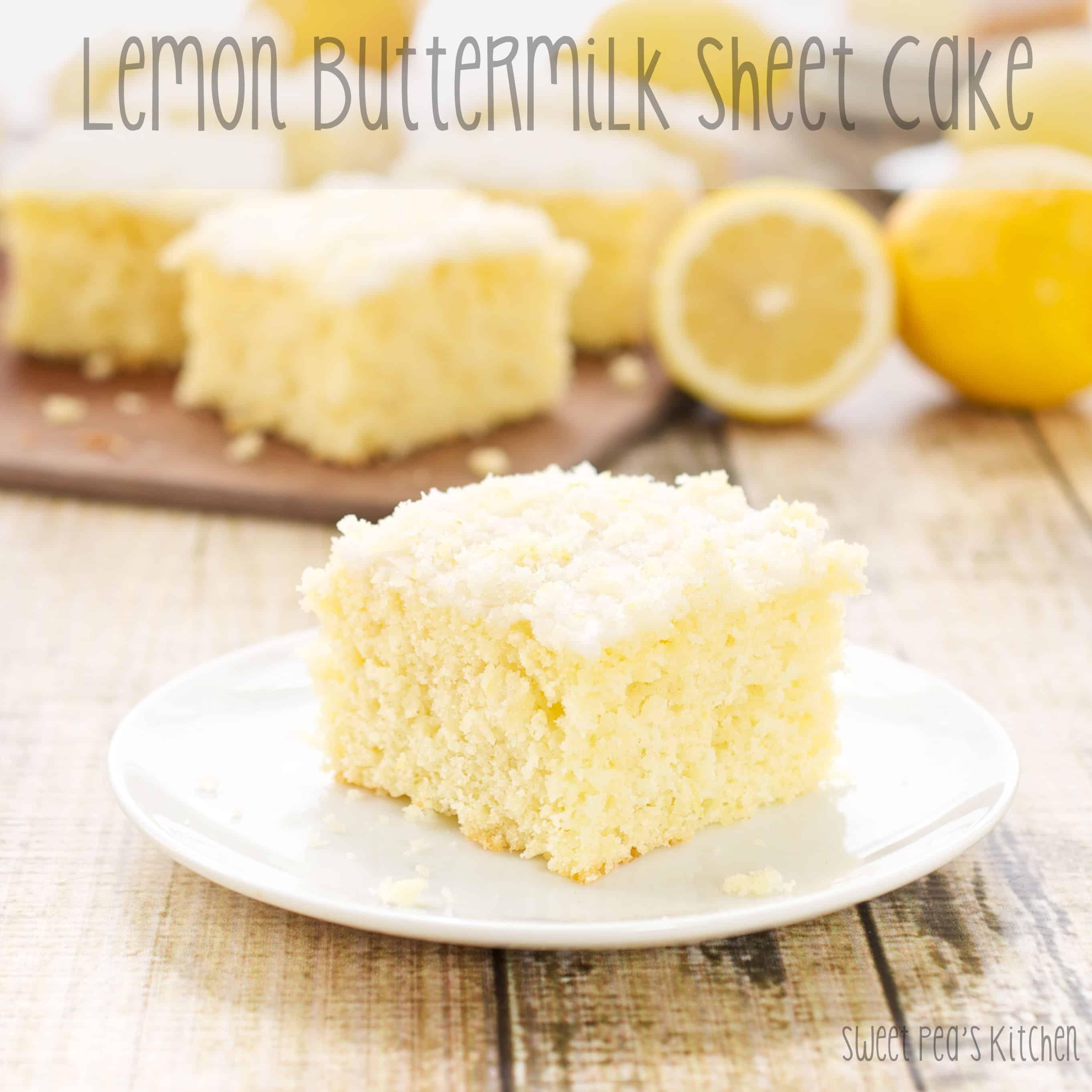 moist lemon cake recipe on a white plate