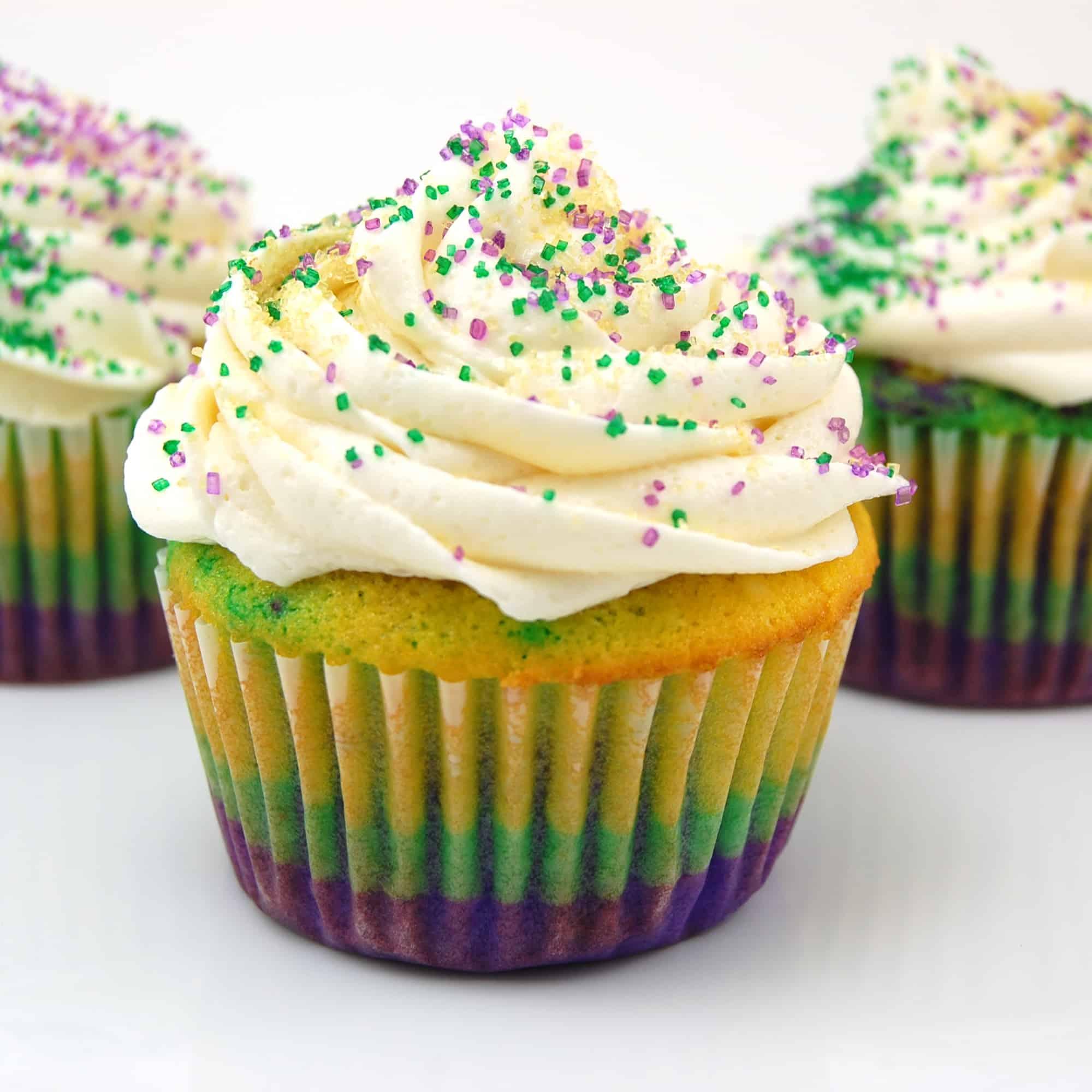 Mardi Gras cupcakes cut open