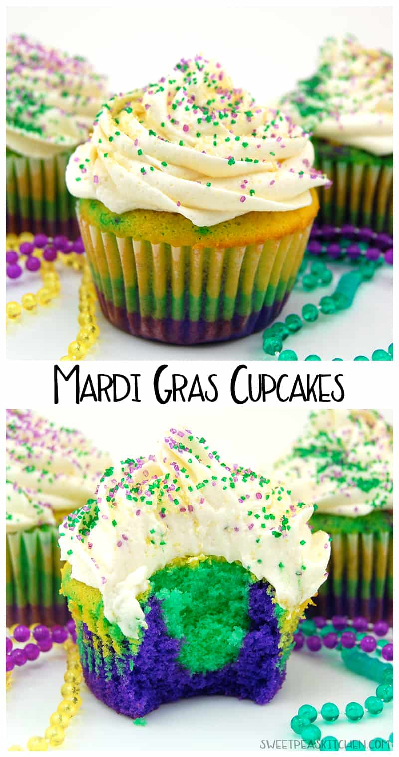 Mardi Gras Cupcakes collage