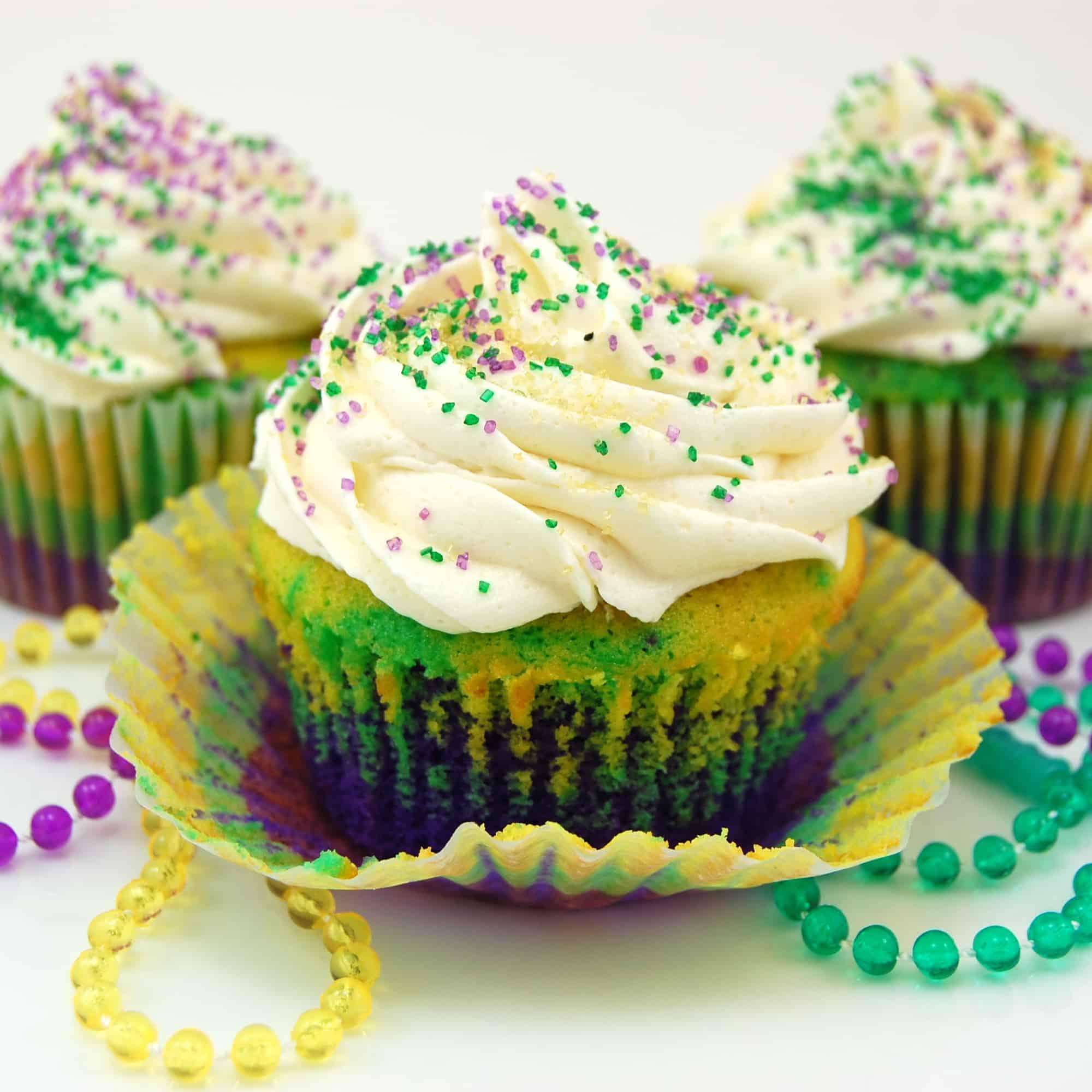 Easy Mardi Gras Cupcakes