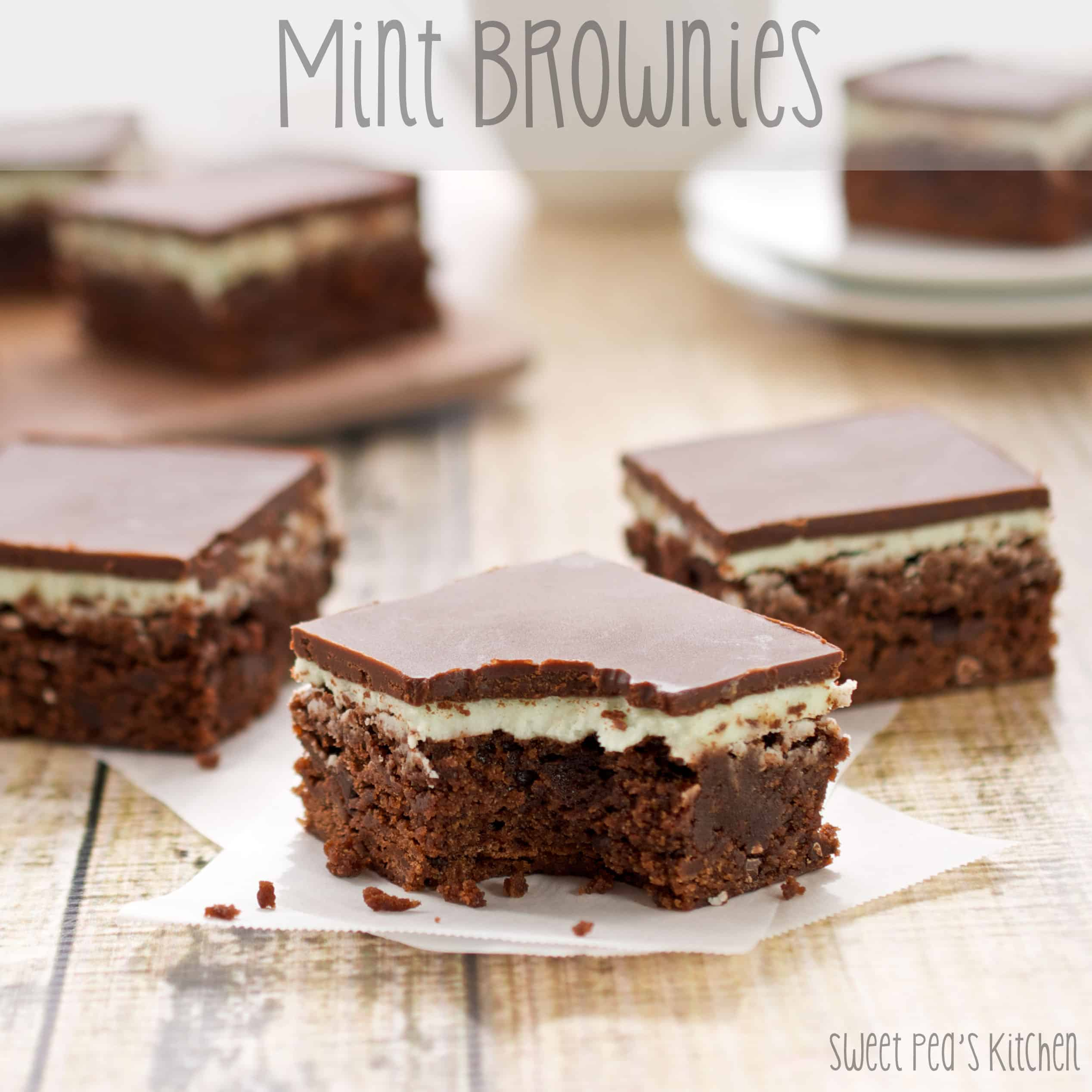 mint chocolate brownies with bite gone