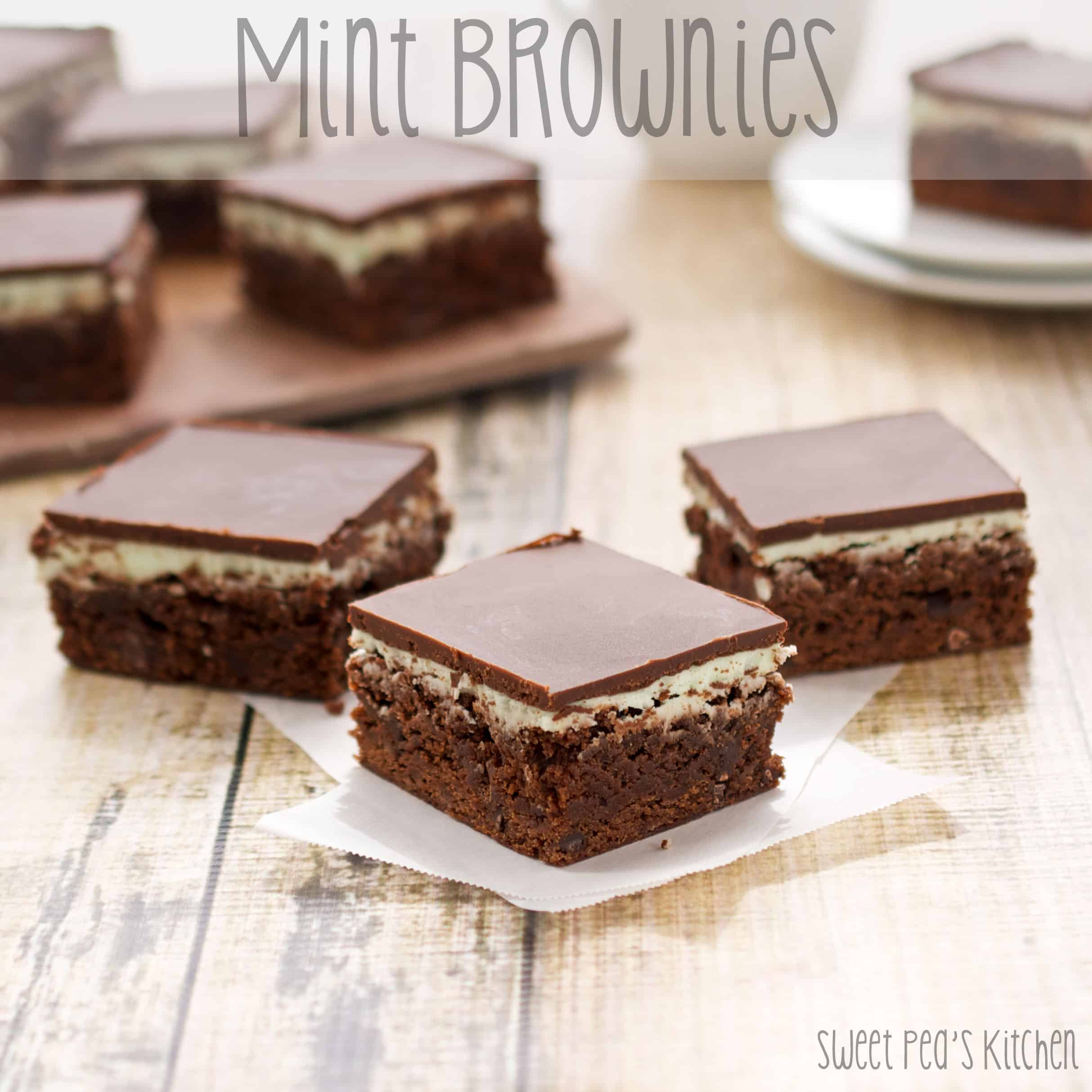 several ready to eat mint brownies