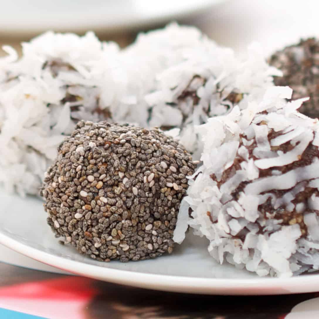 date energy balls on plate