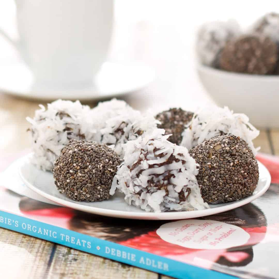 plate of coconut date balls