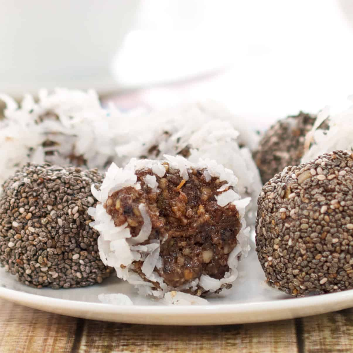 date balls with bite out of one