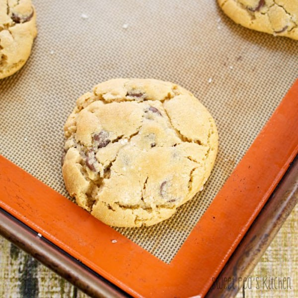 peanut butter chocolate chip cookie on a cookie sheet