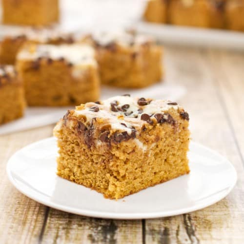 easy pumpkin bars on a white plate