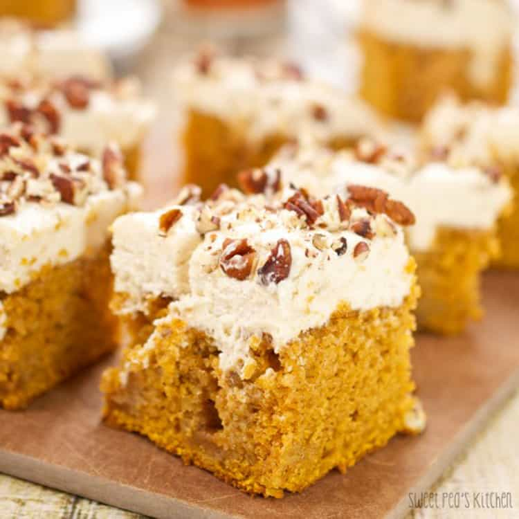 slices of pumpkin poke cake on a plate