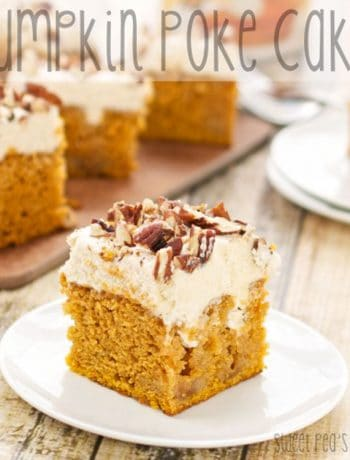 Up close image of pumpkin poke cake with a bite taken from it