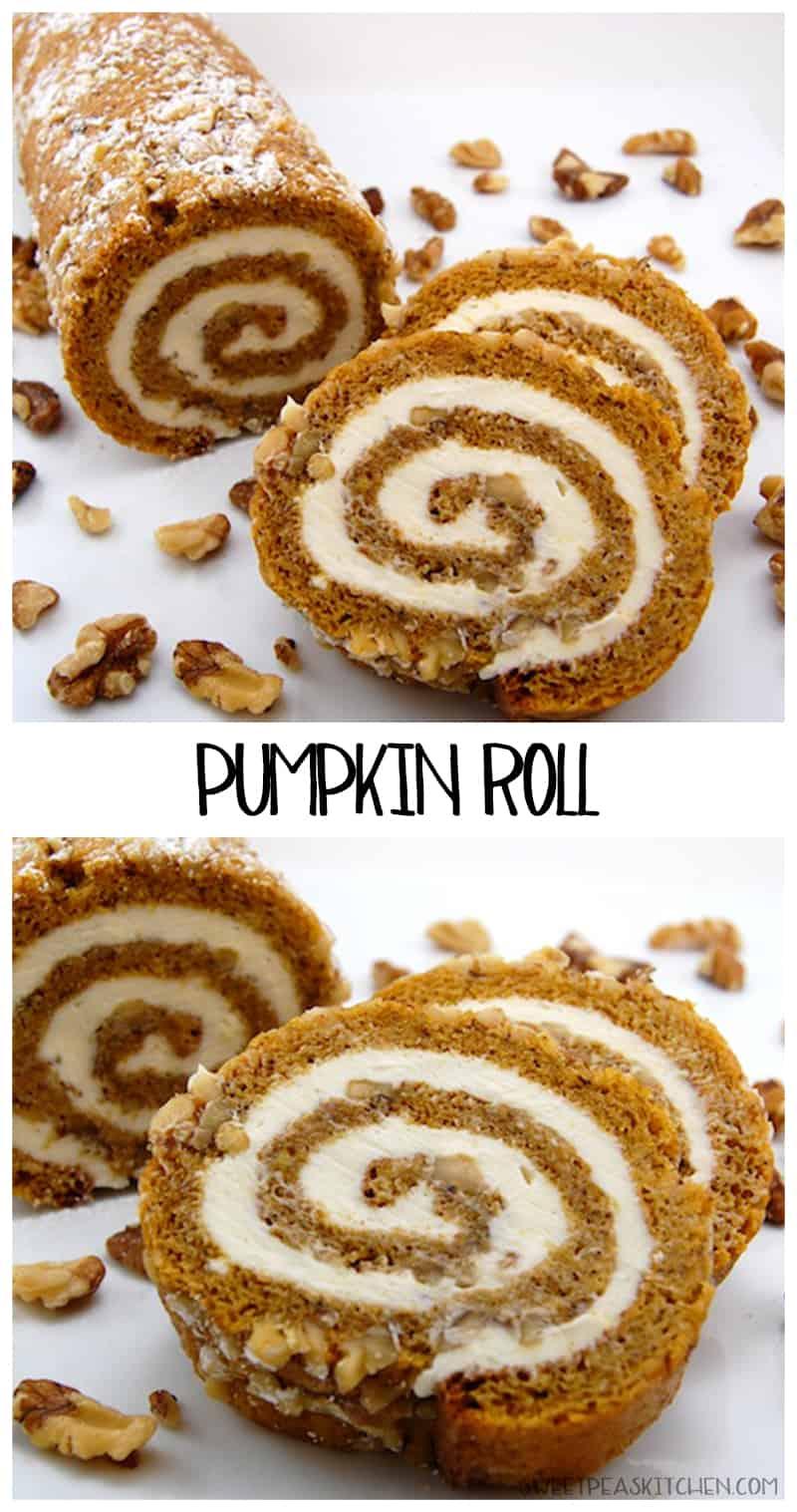 pumpkin roll cake collage