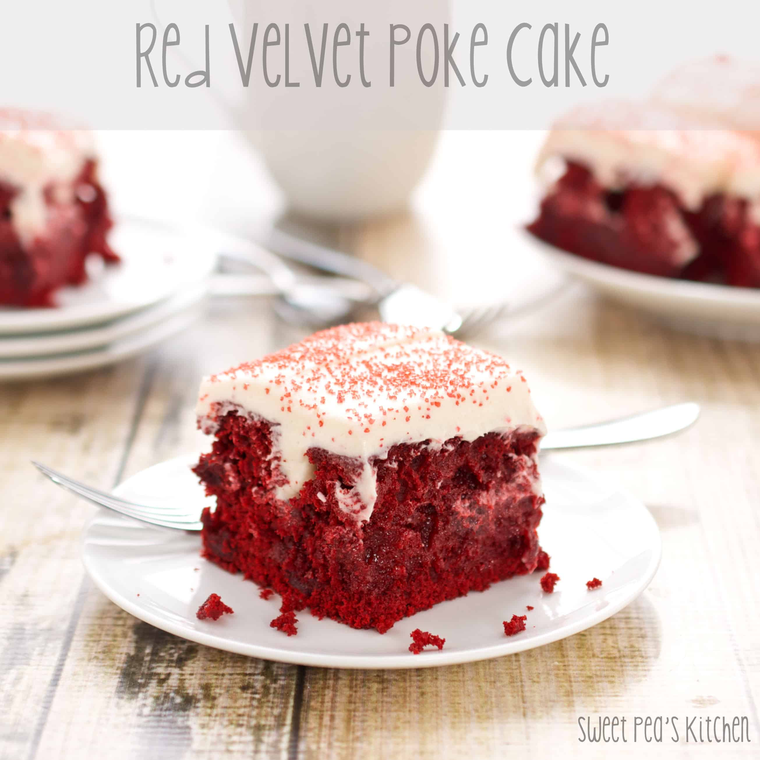 plates with homemade red velvet cake