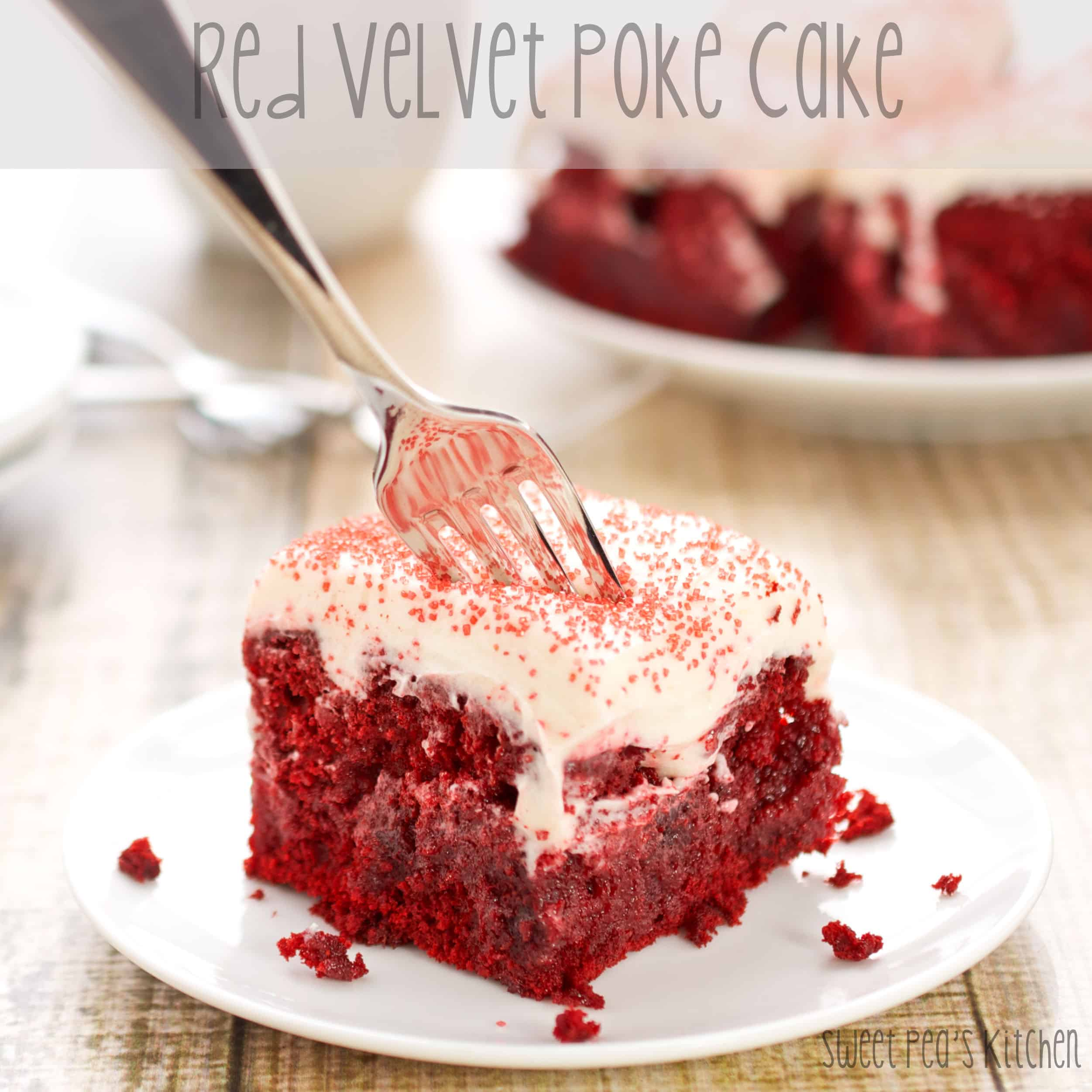 easy poke cake with fork in it on plate