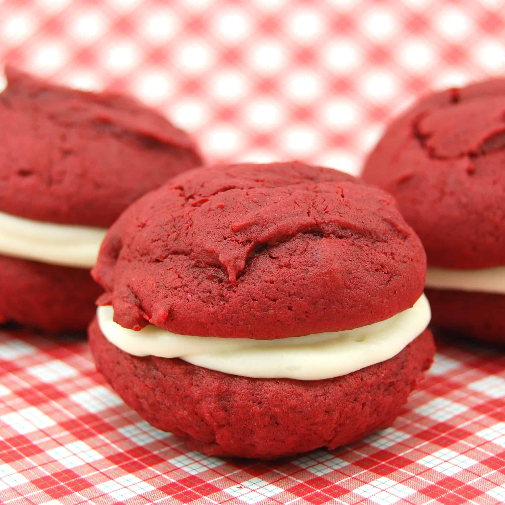several red velvet whoopie pies ready to eat
