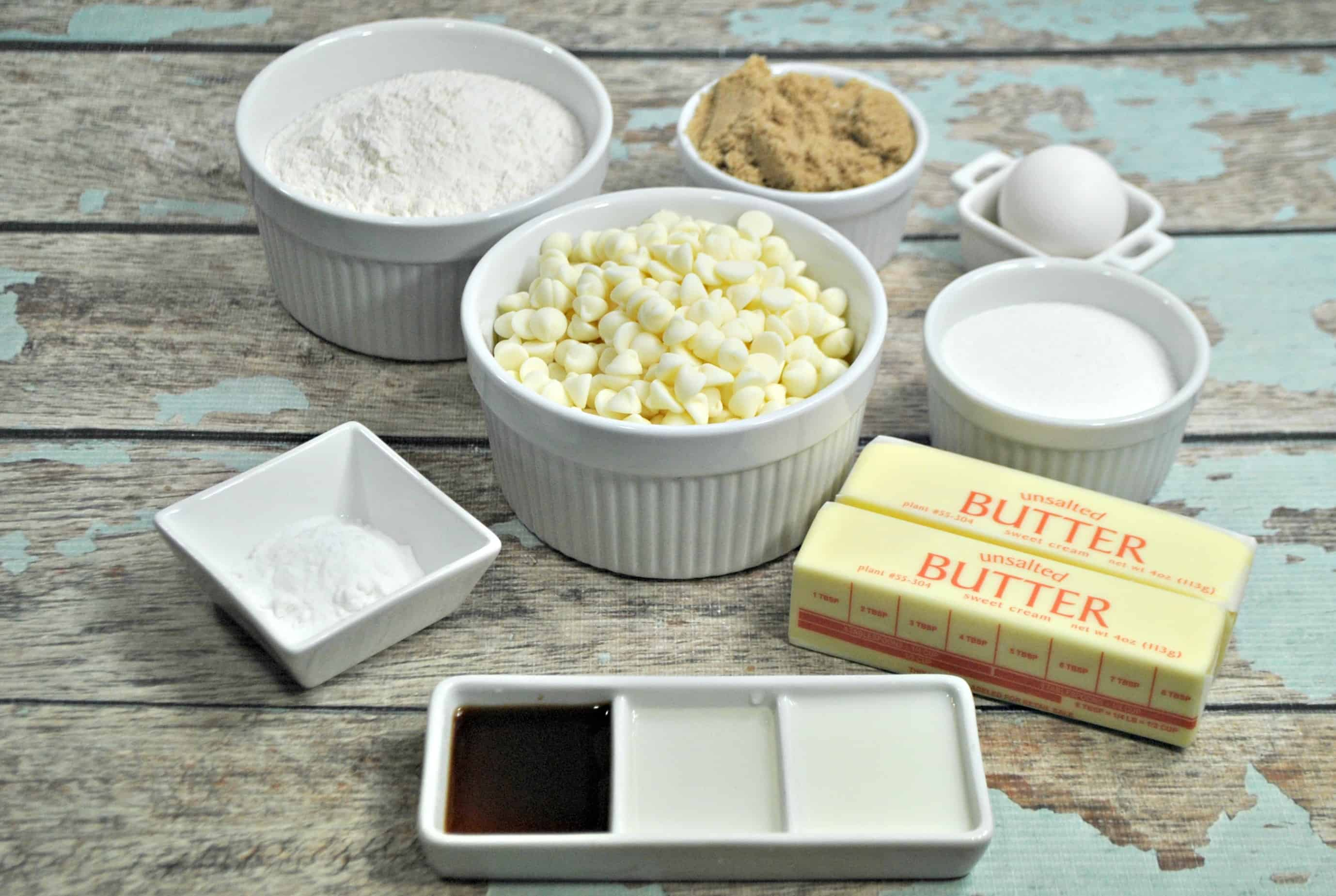 white chocolate chip cookie ingredients