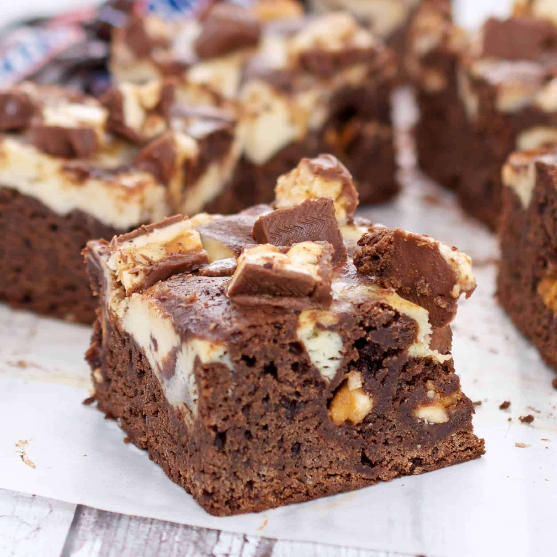 pieces of snickers brownies